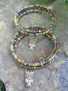 Fall inspired Owl Charm memory wire bracelet with warm hues