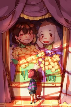chara and asriel's picture in the castle...with the stupid flowers that ruined EVERYTHING