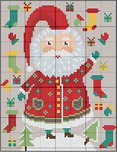Santa and Xmas stockings - free pattern from gazette94