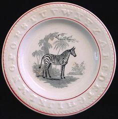 Black Transfer Nursery ABC Plate ~ ZEBRA 1840