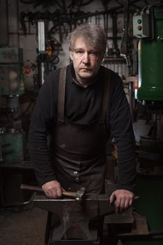 Portrait of David Hyde. Blacksmithing - Verdigris Metals, Manchester, UK.