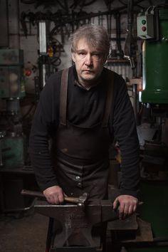 Portrait of David Hyde. Blacksmithing - Verdigris Metals, Manchester, UK.