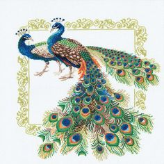 """Peacocks Counted Cross-Stitch Kit, 18.875"""" x 18.875"""", 14-Count"""