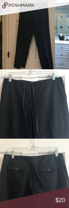 Charcoal wool flannel dress pants 100% wool charcoal dress pants. Fully lined. Snap and zipper closure with decorative tie J Crew Pants Trousers