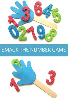 Smack the Number game is a number recognition games. Children either smack the number of their choice and identify what number they smacked or someone chooses a number for them to smack. Challenge by introducing adding and subtraction.