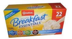 Carnation Instant Breakfast Essentials Complete Nutritional Drink 22 Pack Box (Classic French Vanilla)