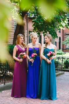 jewel toned mismatched bridesmaid dresses - Google Search DEFINITELY THE COLORS I WANT THE GIRL BUT PURPLE NOT MAGENTA
