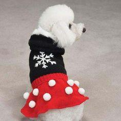Dog Dress Clothes Clothing Shirt Pom Pom Knit Snowflake | eBay