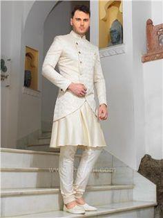 Art Silk Indo Western With Designer Koti Wedding Sherwani, Groom Wear, Marriage, Menswear, Asian, Suits, Blouse, How To Wear, Stuff To Buy