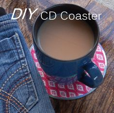 Create your own CD Coasters · vicky myers creations Old Cd Crafts, Easy Crafts, Recycled Crafts, Fabric Coasters, Diy Coasters, Fete Ideas, Cd Diy, Create Your Own, Create Yourself
