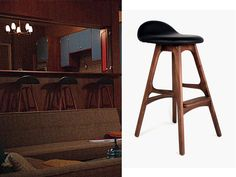 How Realistic are TV Characters' New York Apartments? | Home + Garden | PureWow New York :: raper residence must-have: Megan's midcentury-modern black-leather-and-wood bar stools ($389)