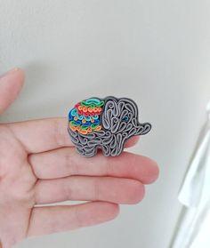 Elephant brooch polymer clay elephant pin grey rainbow