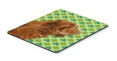 Sussex Spaniel St. Patrick's Day Shamrock Portrait Mouse Pad, Hot Pad or Trivet