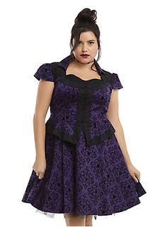 Purple is the color of royalty, and we know Regina reigns supreme. This gorgeous dress from the limited edition<i>Once Upon A Time</i>fashion collection is inspired by the Evil Queen herself and has many details she would approve of. The purple heavy cotton dress has a custom apple damask flocking allover print accented with black lace on the upper back panel, peplum accent hem and sweetheart neckline. The built up bodice features a row of cloth knot button accents and is topped ...