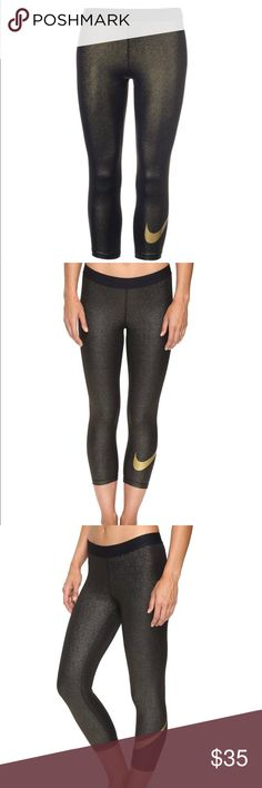 Nike Pro Black  & Gold Sparkle Capri Leggings Product details  Womens Nike Pro Cool Capris - Black/Gold : Incredible fit, style, and performance. These are built for training, so what are you waiting for? Minimal seams and lightweight fabrics keep you cool and free of distractions. Wider waistband improves the fit, keeping your capris in place when you're in motion. Dri-FIT 80% polyester/20% spandex. Nike Pants Leggings