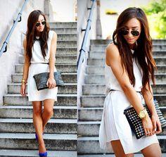 Oasap White Dress, Persun Blue Pumps, New Yorker Statement Necklace