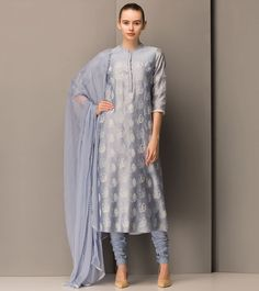 Powder Blue #Printed #Chanderi #Silk #Salwar #Kameez by #Am:Pm at #Indianroots Was $316 | Is $205