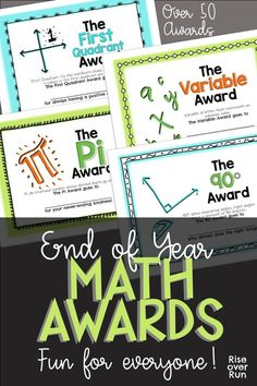Celebrate your students' achievements and unique personalities with these fun math-themed awards!Included are 52 different awards named after math concepts, math tools, and mathematicians. Some awards feature accomplishments, some celebrate traits, and ot Fun Math Activities, Math Resources, Math Games, Math Worksheets, Educational Activities, Math Tools, Math Intervention, 7th Grade Math, Math Projects