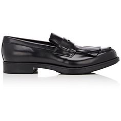 Prada Men's Kiltie Penny Loafers ($720) ❤ liked on Polyvore featuring men's fashion, men's shoes, men's loafers, black, mens slipon shoes, prada mens shoes, mens woven leather slip-on shoes, mens leather shoes and mens black leather shoes