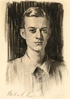John Singer Sargent (1856-1925)  Portrait of Quincy Adams Shaw, Jr. (1896-1987) (1917) 24.5 X 19 in.charcoal on paper