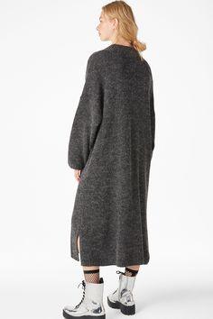 Melange knit dress - Grey melange - Dresses - Monki FR