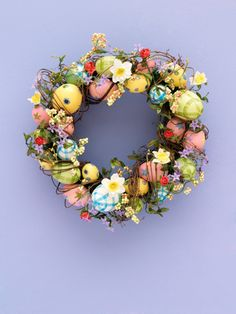 wreath-- like these colors but maybe with teacups or ladybugs and a lot fewer eggs