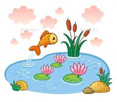 The fish jumps into the pond. Vector illustration with lake and fish. Jednoduché Kresby, Lekce Umění, Umění Pro Děti, Výzdoba Třídy, Dítě