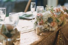 A Romantic Mint and Peach Wedding Decoration Table, Reception Decorations, Wedding Centerpieces, Wedding Book, On Your Wedding Day, Perfect Wedding, Mint Decor, Wedding Readings, 30th Birthday Parties