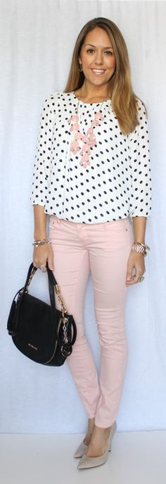 Polka dotted shirt + blush pink jeans + bubble necklace