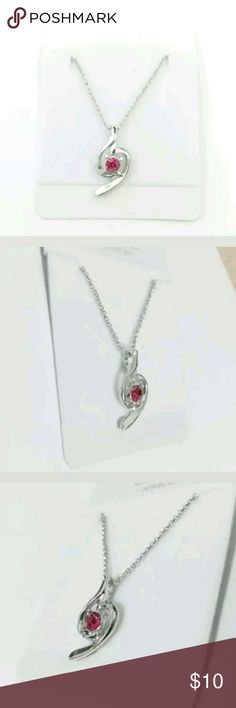 """Brand new! Beautiful Silver Necklace Brand new in pkg. Silver necklace with a Red center cz stone.  18"""" long.  Nice quality. Looks very expensive.  Simple but elegant. Jewelry Necklaces"""