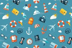 Flat Design Travel Icons Pattern Graphics Illustration of vector travel flat design patternZIP includes:- editable EPS10 vector file format by Decorwith.me Shop