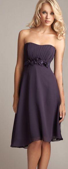 plum A-line empire waist chiffon dress
