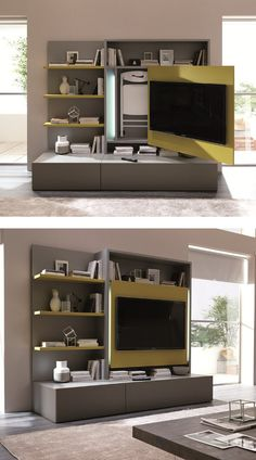 "Smart Living wall unit by Ozzio Design - A space saving solution ""all in one"""