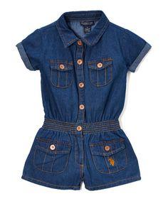 U.S. Polo Assn. Medium Blue Pleated Romper - Toddler & Girls | zulily