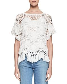 CHLOÉ MACRAME SHORT-SLEEVE CREWNECK SWEATER, MILK. #chloé #cloth #