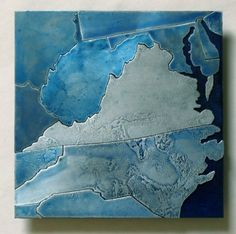Custom Metal Art Ice Blue Map of your State 8 by CopperLeafStudios, $125.00