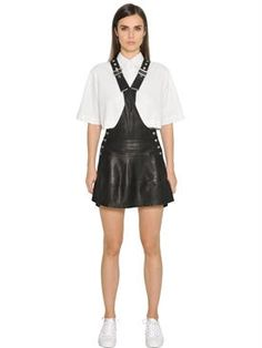 diesel black gold - women - dresses - nappa leather overall dress
