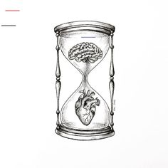 love is like an hourglass with the heart filling up as the brain emptying Pencil Art Drawings, Art Drawings Sketches, Tattoo Sketches, Cool Drawings, Tattoo Drawings, Hourglass Drawing, Hourglass Tattoo, Brain Drawing, Brain Art