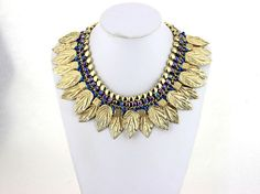 Golden Leaves Statement Necklace Choker Collar Necklace by eBijoux, $18.99