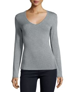 Soft Touch Long-Sleeve V-Neck Tee, Size: 5/X-LARGE, Flannelle - Majestic Paris…