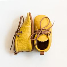 Baby yellow leather booties with brown sole Newborn, infant, toddler soft shoes