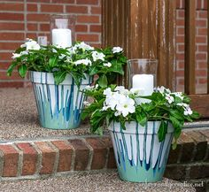 DIY Outdoor Decor | How to Make Drip Paint Pots with Candles ~ These are perfect for a wedding centerpiece or your own front porch!