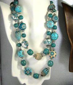 Handmade Teal Necklace Samunnat Sundari and Kazuri Beads Double Strand