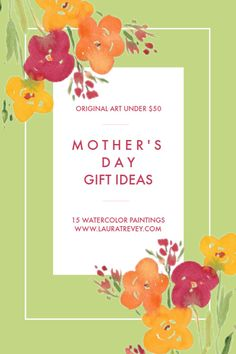 Original Watercolor Paintings to buy under $50 - all 8x10 in size for easy framing - the perfect unique gift idea for Mothers Day