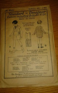 ANTIQUE 1919 BELROBE METHOD SEWING PATTERN 8531 LITTLE GIRLS ONE PIECE DRESS