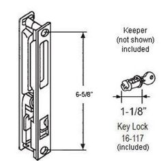 """Sliding Glass Door Handle Set, Keyed, Flush Mount, without """"Nite-Lock"""", with Five Hook Assortment, Black, 6-5/8"""" Screw Holes by TechnologyLK. $19.54. Popular door style cut-outs Key without Night Lock feature Finish: Black Set comes with five differently sized hooks (S, C, P, X, K) reversible left/right handing Diecast keeper, cylinder with two keys installation fasteners Non-Keyed version of this set is 13-192B"""