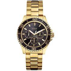 180513ce8c3 GUESS Gold-Tone and Black Feminine Sport Watch  130 Produtividade