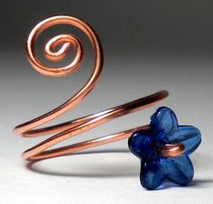 Flower Ring with Spiral - Unique, Natural Copper Jewelry - Gift Ready in Eco Friendly Recycled Box - On Sale