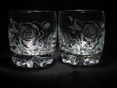 Ready to Ship 2 Hand Etched Whiskey glasses unique by daisyclub, $20.00