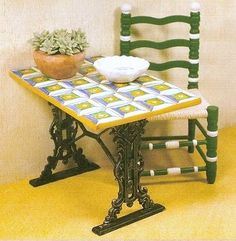 how to: faux tiled table (In Spanish, with good step-by-step photos)